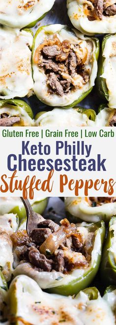 Low Carb Recipes Low Carb Keto Philly Cheesesteak Stuffed Peppers - These stuffed peppers have all the flavors of your favorite sandwich in a healthy, low carb, easy weeknight meal that will please even picky eaters! Healthy comfort food at its best! Diet Dinner Recipes, Keto Dinner, Diet Recipes, Dessert Recipes, Tilapia Recipes, Breakfast Recipes, Dinner Healthy, Vegetarian Recipes, Soup Recipes