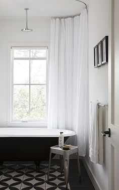 Shower curtain hung from ceiling  would cover walls to prevent water splashes - good idea for my master bath
