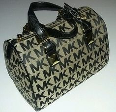 Michael Kors Grayson Medium Satchel Beige/Black 38T5XGYS2J