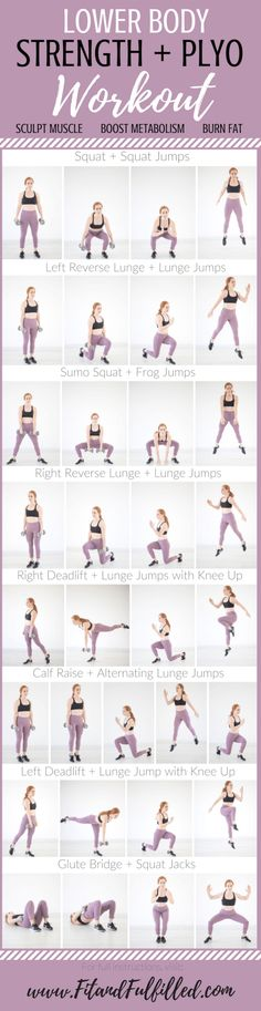 Lower Body Strength + Plyo Workout Lower Body Strength + Plyo Workout – Fit and Fulfilled – 30 Days Workout Challenge Plyo Workouts, Plyometric Workout, Plyometrics, Fitness Workouts, Body Workouts, Leg Workout At Home, At Home Workouts, 30 Day Fitness, Fitness Tips