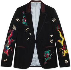 Wool mohair evening jacket with embroidery