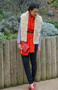#braids, #plaid, #skinny, #jeans, #red, #heels, #fur, #vest, #ysl, #tassel, #clutch Red Plaid Scarf, Red Heels, Ysl, Tassel, Personal Style, Braids, Skinny Jeans, Blog, Jackets