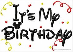 Its My Birthday Mister Miss Mouse Machine Applique Embroidery Design, multiple sizes, including 4 INCH HOOP