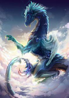 Dragon and Dove. Dragon and Dove. Dragon and Dove. Mythical Creatures Art, Mythological Creatures, Magical Creatures, Fantasy Creatures, Cool Dragons, Pictures Of Dragons, Fantasy Beasts, Beautiful Dragon, Dragon Artwork