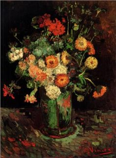 Vase with Zinnias and Geraniums - Vincent van Gogh, National Gallery of Canada, Ottawa, Canada, 1886