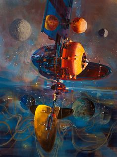 Towards the Beginning, in John Davis's John Berkey Comic Art Gallery Room Space Fantasy, Sci Fi Fantasy, John John, Concept Art Alien, Art Science Fiction, John Berkey, 70s Sci Fi Art, Futuristic Art, Futuristic Vehicles