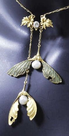 A delicate Art Nouveau gold, plique-à-jour enamel, diamond and pearl pendant, French. #ArtNouveau
