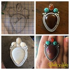 @chulamaiz_jewelry Some pieces require planning, design and patience. Here's the journey of this ring. Clockwise: sketch, mock up, soldered silver out of the pickle, finished ring. There's a ton of steps in between. Very happy with the finished piece. Went to a great home. #chulamaiz #handmade #metalsmith #sterlingsilver #tallercolibri #riojeweler #vivamaria #wearableart