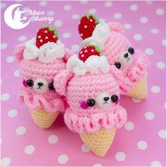 Crochet strawberry ice-cream bear Charm by CuteMoonbunny
