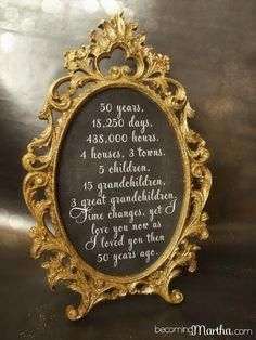 Gold and Glittered Frame and Print - Anniversary Party Decor. Anniversary Party Decor, also an excellent idea for a big birthday (Sweet All you need is the supplies and a calculator! Mom Dad Anniversary, 60th Anniversary Parties, Golden Wedding Anniversary, Anniversary Frames, 50th Anniversary Centerpieces, Anniversary Party Decorations, Anniversary Ideas For Parents, 50th Anniversary Quotes, Anniversary Banner