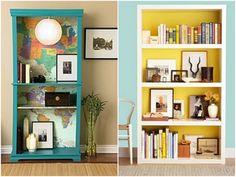 wallpaper in shelves | Temporary Fabric Wallpaper Tutorial