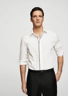Mango Slim-Fit Contrast Trims Shirt - S Plain White Shirt, White Shirts, Casual Shirts, Tee Shirts, Shirt Men, Mens Designer Shirts, Black N White, Men's Collection, Mens Suits