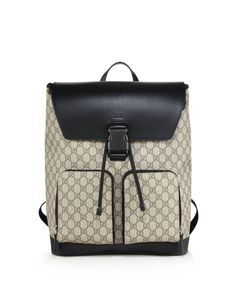 d086846b737c Gucci | Black Gg Supreme Canvas Backpack | Lyst Buy Gucci, Gucci Men,  Leather