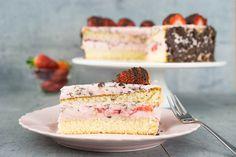 Erdbeer-Straciatella-Torte Austrian Recipes, Austrian Food, Yummy Cakes, No Bake Cake, Vanilla Cake, Cheesecake, Food And Drink, Sweets, Sugar