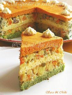 Appetizer cake, filled with boeuf salad ~ Culorile din farfurie Romanian Food, Romanian Recipes, Salad Dishes, Appetizer Salads, Appetisers, World Recipes, Cornbread, Vanilla Cake, Salad Recipes