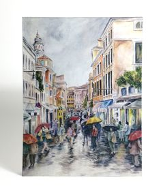 Watercolor art print mounted on wood panel — ready to hang — Rainy street in Venice with people under umbrellas by paulanathanart on Etsy https://www.etsy.com/listing/506606758/watercolor-art-print-mounted-on-wood