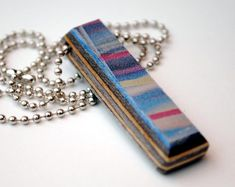 Single or Double Gem Gift Idea Jewelry Opal Pendant Recycled Skateboard Wood