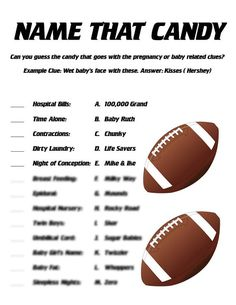 A great way to have fun at a sports themed baby shower by playing the Name That Candy game. With the Name That Candy game, guests will match the