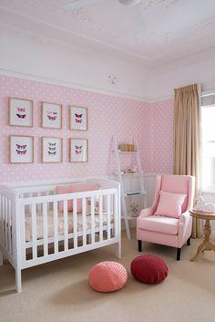 sophisticated pinks, polka dot wallpaper, butterfly art
