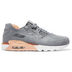 Nike Air Max 90 Royal suede and leather sneakers ($270) ❤ liked on Polyvore featuring shoes, sneakers, lace up sneakers, leather lace up sneakers, nike trainers, nike and nike footwear