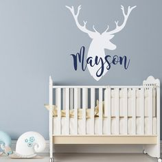 Personalized Deer Antlers Name Wall Decal Rustic от HomyVinyl