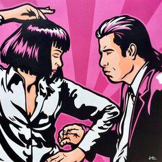 Pulp Fiction by James Lee Pulp Fiction Art, Pulp Art, Comic Kunst, Comic Art, Posca Art, Pop Art Wallpaper, Dark Drawings, Hippie Art, Movie Poster Art