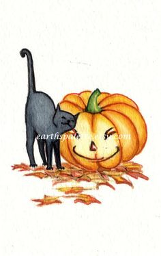 Black cat and pumpkin ATC 2.5X3.5 PRINT from by Earthspalette