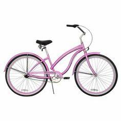 """Enjoy afternoon rides down country lanes or jaunts by the shore with this 3-speed cruiser bike, featuring coaster brakes and a dual-spring saddle seat.  Product: Women's beach cruiser Construction Material: Steel, alloy and rubber Color: PinkFeatures:  3-Speed cruiser Hibiscus graphics on bike frame Pedal backwards for easy stopping  26"""" Wheel sizeDimensions: 38.4"""" H x 73"""" W x 28.5"""" DAssembly: Assembly required"""