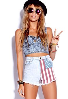 Americana Denim Cut Offs | FOREVER21 Peace, love and American #Flag #Shorts