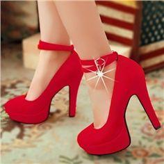 Elegant Double Straps with Big Rhinestone Women's High Heel Prom Shoes