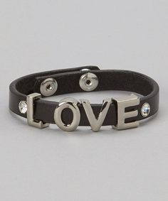 This Black & Silver 'Love' Leather Bracelet by I Love Accessories is perfect! #zulilyfinds