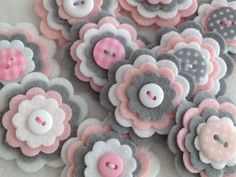 BABY GIRL GREY x3 Handmade Layered Felt Flower Button Embellishments Brooche Wool Mix Baby Pink, Silver Grey, White: