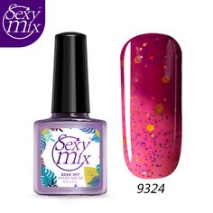 Sexy Mix 1pcs Soak Off Colorful Glitter Temperature Color Thermal Mood Changing UV Gel Lacquer Color Changing Nail Polish 9ML