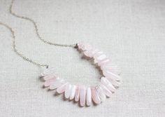 Large Rose Quartz Bib Necklace by wanderingrootjewelry on Etsy