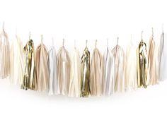 DIY Tissue Tassel Garland Kit - Champagne Gold - Gray, Ivory, Blush, Nude, White Paper Modern Room Wedding Shower Tassle Decor Balloon Tails