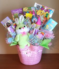 Easter gift in a terra cotta pot easter baskets pinterest easter basket candy bouquet for girl negle Choice Image