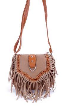 0a8da1a7bee1 Camel Two Tone Faux Leather Fringe Accent Saddle Handbag