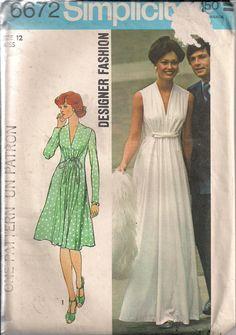 Vintage 70s UNCUT Sewing Pattern MAXI DRESS by HoneymoonBus, $9.99
