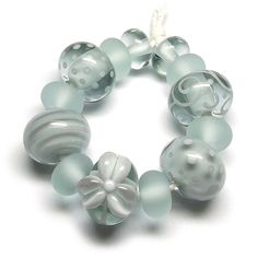 Beads By Laura: Lampwork glass 'Moonlight' beads by Laura Sparling