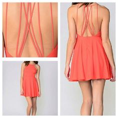 Nwt Boutique Coral Strappy Back Dress!