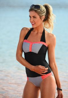 Sweetheart Sport Halter - Black and Sunrise Coral – DM Fashion Swimsuits 2017, Modest Swimsuits, Unique Swimsuits, Swimsuit Cover Ups, One Piece Swimsuit, Women's Swim Tops, Swim Skirt, The Bikini, Outfits