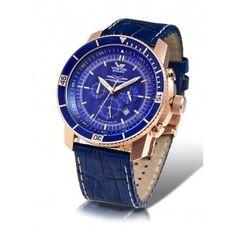 Reloj Vostok Ekranoplan Clasico Cronografo Cuero Azul
