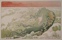 La Vague (The Wave) 1887.  Lithograph by Henri Privat Livemont (1861 - 1936)