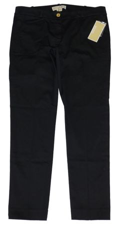 NEW MICHAEL Michael Kors Womens Pants Skinny Leg Stretch Cropped Black 4P $79.50 #MichaelKors #CasualPants