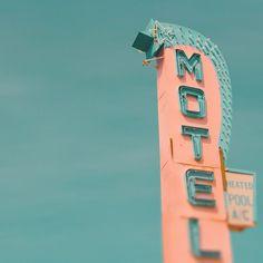 Vintage motel sign Jersey shore mad men retro neon sign pale blue coral pastel colors summer vacation 1950s ephemera 8x8 on Etsy, $30.00