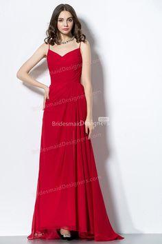 chic red spaghetti straps v neck long chiffon bridesmaid dress at bridesmaiddesigners.com