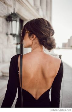 awesome-backless-black-dress-with-nice-low-bun-hairstyle