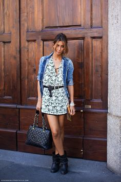 dresses with boots pictures   lace mini dress topped with a fitted jean jacket and motorcycle boots ...