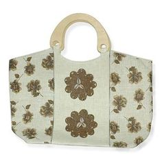 J Francis- Brown and Cream Flower Print Straw Handbag with Bamboo Handle