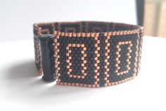 Black Bracelet  Black Cuff  Beaded Bracelet  Beaded от MarmosaArt
